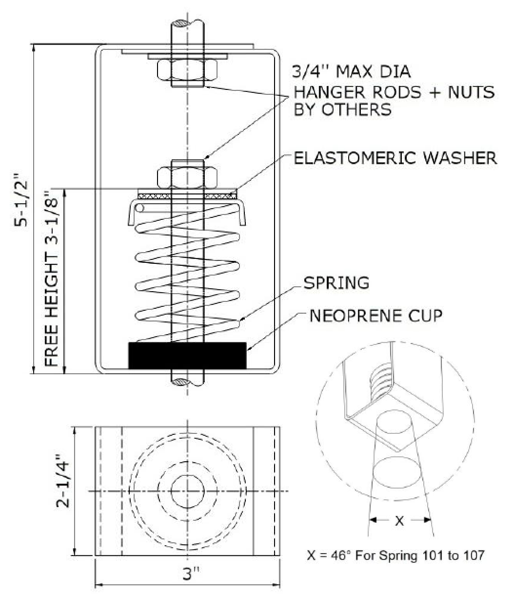 isometric drawing of spring hanger showing dimensions