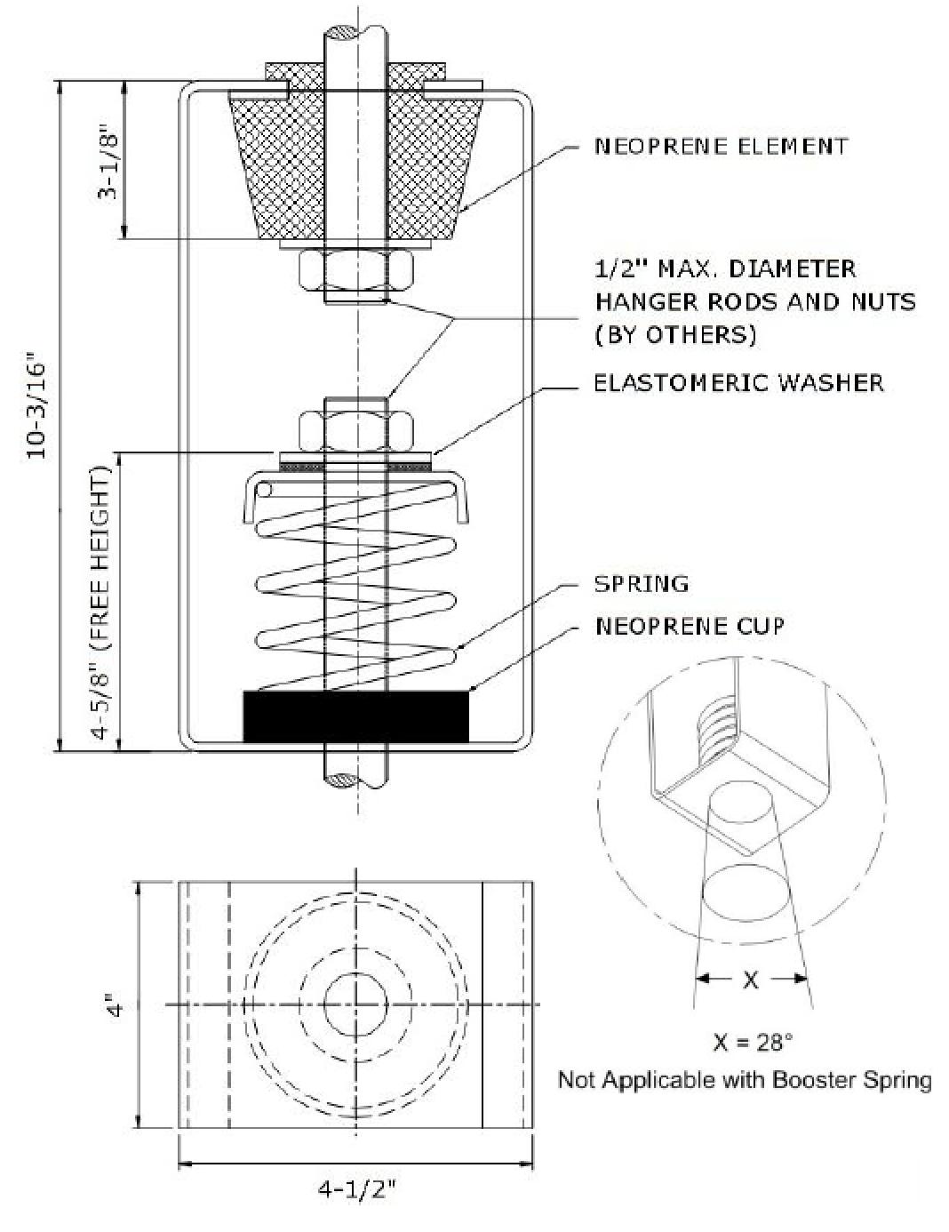spring hangers shnb 100 series shock vibe inc. Black Bedroom Furniture Sets. Home Design Ideas